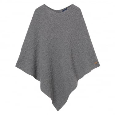 Womens Cable Poncho in Dark Grey Melange