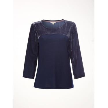 Womens Velvet Callie Jersey Tee in Blue Plain