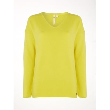Womens Hinterland V Neck Jumper in Lichen Green Plain