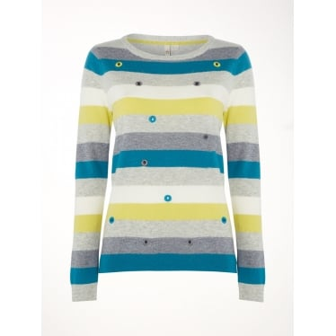 Womens Eden Stripe Jumper in Green Multi