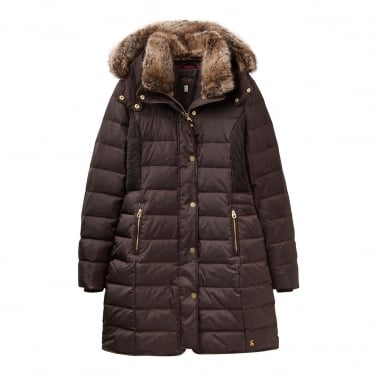 Womens Caldecott Feather And Down Coat in Dark Brown
