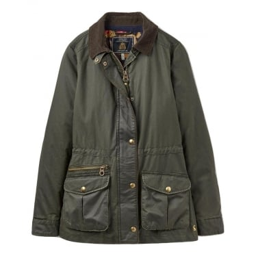Womens Balmoral Faux Wax Jacket in Everglade