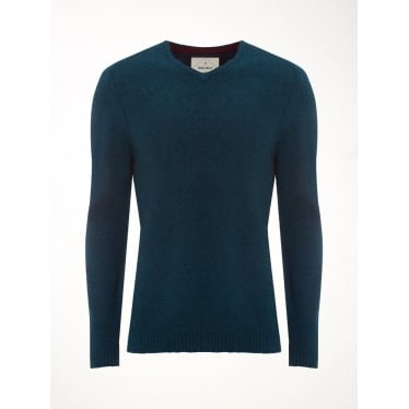 Mens Back Stop Vee Knit in Loch Teal
