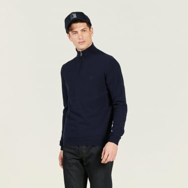 Mens Mirsew Trucker Jumper in Bleu Marine