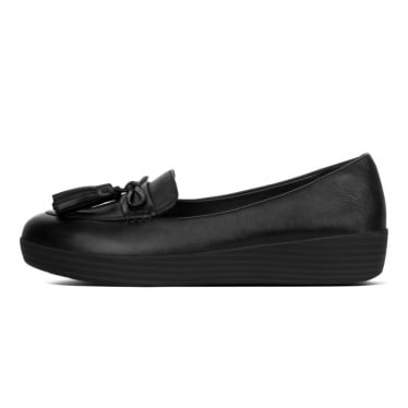 Womens Tassel Bow Sneakerloafer in Black