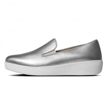 Womens Superskate Leather Loafer in Silver