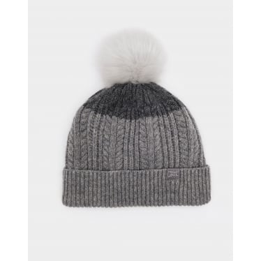 Womens Knitted Bobble Hat in Light Grey