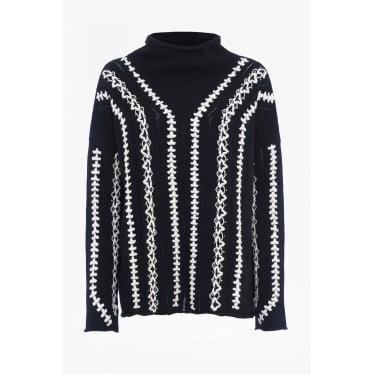 Ella Embroidered Wool Blend Jumper in Black/White