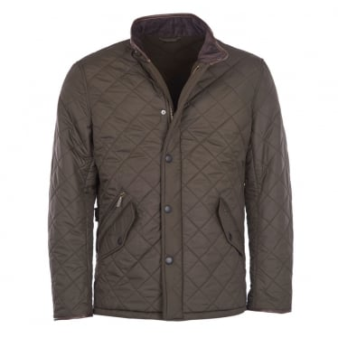 Mens Powell Quilted Jacket in Olive