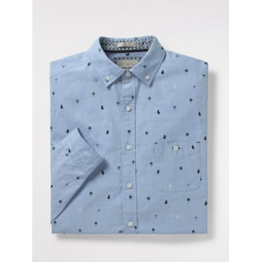 Mens Barstool Print Oxford Shirt in Blue