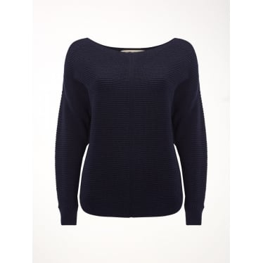 White Stuff Womens Eastside Textured Jumper in Navy