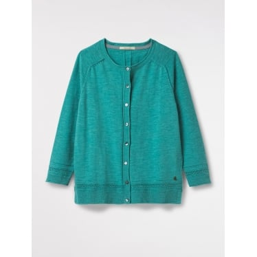 Womens Palm Cotton Button Cardi in Green