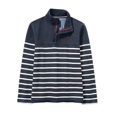 Crew Mens Padstow Pique Sweat in Navy White Stripe