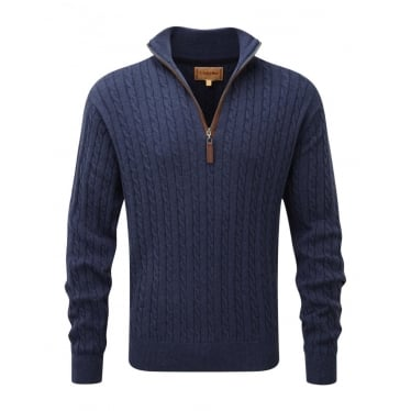 Mens Cotton Cashmere Cable 1/4 Zip Jumper in Indigo