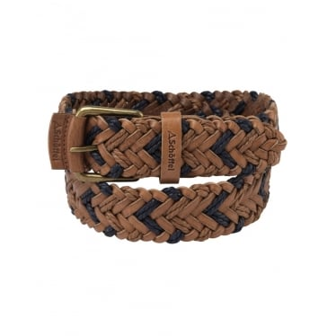 Mens Woven Leather Belt in Tan/Navy