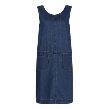Womens Art Book Pinafore Dress in Mid Indigo