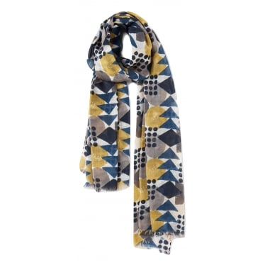 Womens Pretty Printed Scarf in Block Geo Seaglass