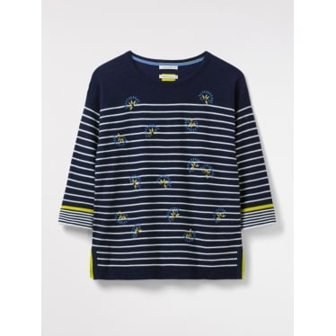 Womens Captain Emb Stripe Jumper in Navy