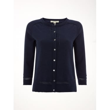 Womens Palm Cotton Button Cardi in Navy
