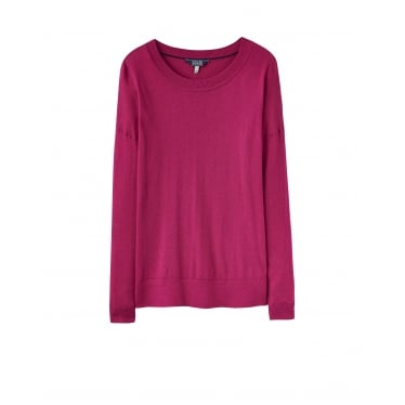 Womens Sally Crew Neck Knitted Jumper in Ruby