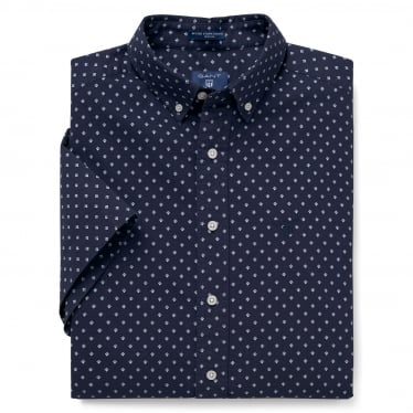 Mens Short Sleeved Micro Stripe Diamond Shirt in Classic Blue