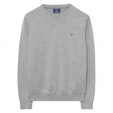 Mens Lightweight Cotton Crew Sweater in Grey Melange