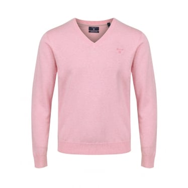 Mens Lightweight Cotton V-neck Sweater in Light Pink Melange