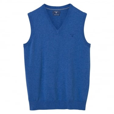 Mens Lightweight Cotton Slipover Sweater in Blue Melange