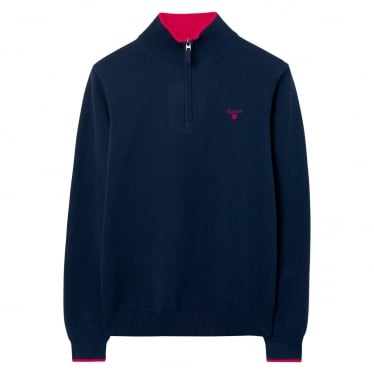 Mens Cotton Contrast Half Zip Sweater in Evening Blue