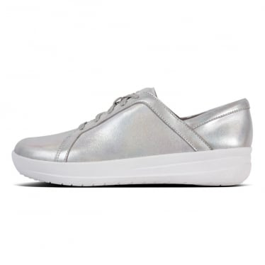 Womens F-sporty II Lace Up Sneakers in Iridescent Silver Leather