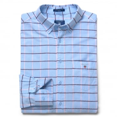 Mens Blue Pack Madras Long Sleeve Shirt in Capri Blue