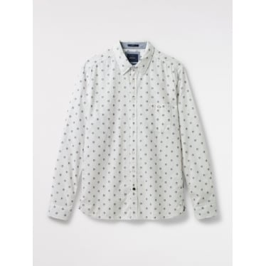Mens Balloon Geo Slim Fit Shirt in White