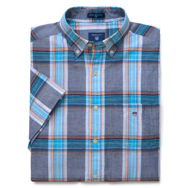 Mens Indian Madras Short Sleeve Shirt in Persian Blue