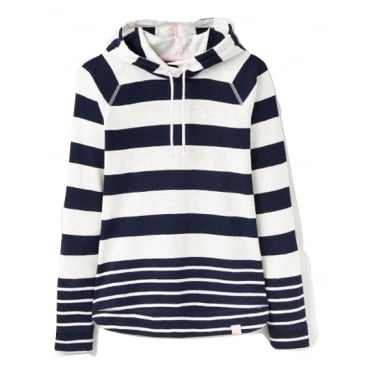 Womens Marlston Striped Hooded Sweat in French Navy Stripe