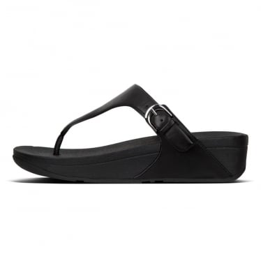 Womens Skinny Toe Thong Sandals in Black Leather