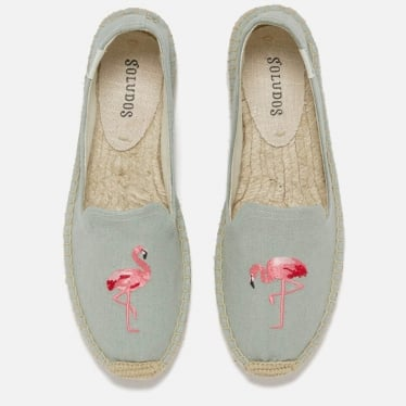 Womens Flamingo Platform Smoking Slipper in Chambray