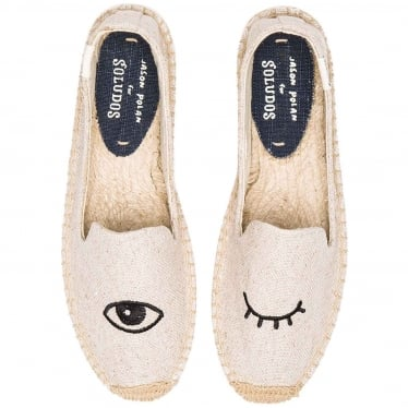 Womens Wink Embroidered Smoking Slipper in Sand
