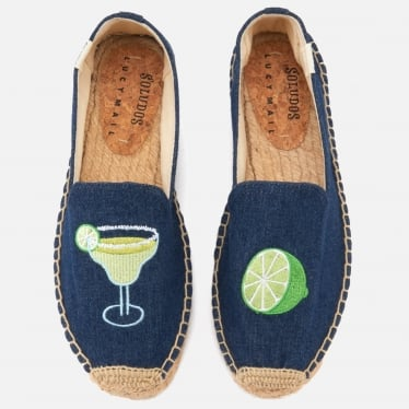 Womens Margarita Platform Smoking Slipper in Dark Denim
