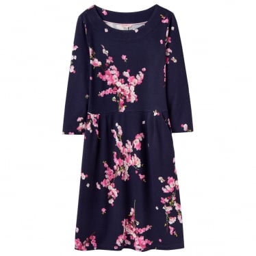 Womens Beth Ponte Jersey Dress in French Navy Blossom
