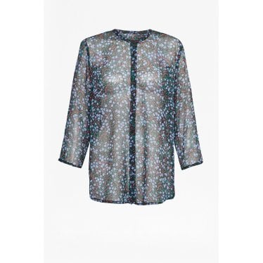 4e310d75f1c Womens Aubine Crinkle Floral Collarless Shirt in Black/Tivoli Blue · French  Connection ...